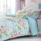 Canterbury Floral Blue White Polka Dot Reversible Duvet Quilt Cover Bedding Set