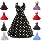 GK NEW RETRO POLKA DOT STYLE 50s 60s SWING VINTAGE FLORAL DANCE DRESS