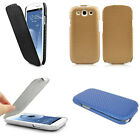 SLEEK CARBON FIBRE FLIP CASE FOR SAMSUNG GALAXY S3 i9300 - COVER SKIN BACK POUCH