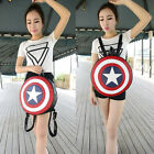 Men Women PU Leather Round Style Captain America Shield Student Backpack Casual