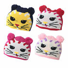 U46 GIRLS WINTER WARM BEANIE HAT CUTE KITTEN CAT DESIGN BOBBLE EARS STRETCH HAT