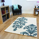 Cream Blue Thick Modern Rugs Soft Damask Non Shedding Wool Living Rooms Rugs UK