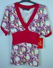 NEWw/Tags- FACEOFF Pretty/Floral CORPORATE/CASUAL PINK Summer Top SIZE 8 10 12