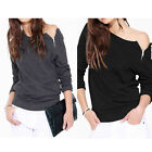 Fashion New Women Side Zip Off Shoulder Long Sleeve Sweater Tops Pullover Coat