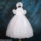 Beaded White Baptism Christening Gown Dress Bonnet Wedding Baby 0-18month #005