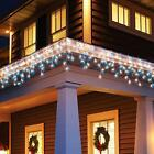 FESTIVE BLUE & WHITE LED SNOWING ICICLE LIGHTS CHRISTMAS TREE OUTDOOR HOUSE XMAS