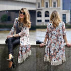 Women Floral Print Tassels Loose Kimono Cardigan Long Sleeve Jacket Tops Blouse
