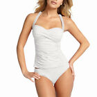 2 Pieces Tied-up Halter Tankini Top with Bikini Bottom Swimwear Swmsuit White