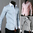 CELEBRITY FORMAL SHIRTS TOPS Mens Casual Slim Fit Dress Shirts BUTTON S M L XL