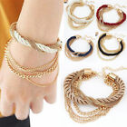 1Pc Womens Handmade Gold Chain Braided Rope Multilayer Bracelet Bangle Chain,Hot