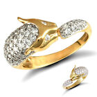 Jewelco London 9ct Solid Gold CZ pave-set Panther Ring with stone set eyes