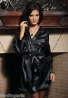 Coquette Lingerie Black Satin Robe with Shawl Collar, Sash & Rear Lace Detail