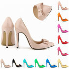 Womens Patent High Heels Corset Pumps Prom Bow Tie Court Shoes Size UK 2-9