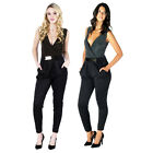 AJ59 Ladies Glitter Belted Sleeveless Bodycon Womens Pleated All In One Jumpsuit