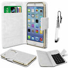 White Leather Suction Wallet Flip Mobile Phone Case For Various Lenovo Sets