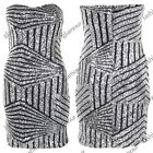 LADIES SEQUINS BOOBTUBE BANDEAU DRESS WOMENS PARTY BODYCON DRESS SIZE 8-14