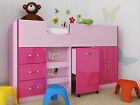 Ottowa 2 Tone Pink 3ft Single Mid Sleeper Storage Bed Work Station Drawers
