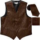 New Men's Formal Vest Tuxedo Waistcoat necktie set paisley brown wedding prom