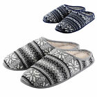 Mens Slippers - Fairisle Knit Mule With Faux Sheepskin Lining - A Great Gift!