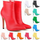 Fashion Matt PU High Heels Ladies Stiletto Casual Ankle Boots Shoes Size UK2-9