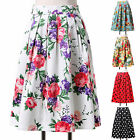 ❤7 STYLES❤ Rockabilly Midi Dresses Pin Up Vintage 50s Prom Swing Housewife Skirt
