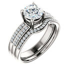 1ct Forever Brilliant Moissanite Solid 14K White Gold Engagement Ring Band Set