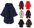 New Ladies Women Luxury Celeb Towie Hooded Soft Faux Fur Trim Shawl Poncho Cape