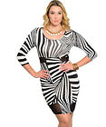 SEXY BLACK & WHITE GEO Print MESH CUT-OUT STRETCH EVENING CLUB DRESS XL/1X/2X
