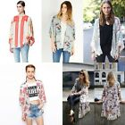 New Women Kimono Floral Print Loose Casual Jacket Coat Cape Cardigan Top Blouse