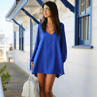 Hot Sexy Women Lady Summer Casual Party Evening Cocktail Casual Short Dress Blue