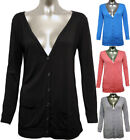 Womens Button Cardigan Ladies Long Sleeve Stretch Top