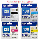 Any 1x Genuine Epson 138 Black/Cyan/Magenta/Yellow Ink Cart= WF3540/WF3530/WF845