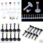 16ga Acrylic Bar CZ Crystal Gem Monroe Labret Lip Ring Stud Piercing Wholesale