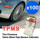 TPMS Car Bike Bicycle Tire Pressure Valve Stem Cap Indicator 26-80psi X100 Piece