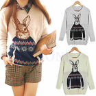 HOT FASHION RABBIT PRINT KNITTED SWEATER JUMPER TOPS PULLOVER CARDIGAN KNITWEAR