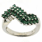 .925 Sterling Silver 3.4 Ct Emerald Ring