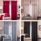 Catherine Lansfield Silk Sequin Panel Lined 66 x 72 Ring Top Eyelet Curtains