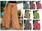 BAGGY PANTS TROUSERS LIGHT COTTON COCO BUCKLE STRIPE HIPPY
