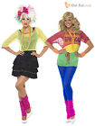 Ladies 80s Retro Fancy Dress Madonna Olivia Fame Outfit Neon Rave Disco Costume