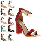 Ladies Ankle Cuff Womens Block Heel Peep Toe Evening Sandals Shoes Size 5-10