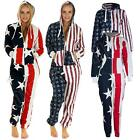Mens USA Stars Stripes Flag Ladies Onesie All In One Womens Jumpsuit Playsuit S