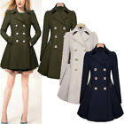 Womens Slim Coat Winter Double Breasted Peacoat Lapel Outwear Trench Coat Jacket