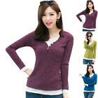 New Women's T-shirt Tops False Two-piece Slim V-neck Long Sleeve Sweet Young Hot