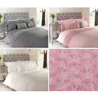 Rose Floral Ruffle Duvet Quilt Cover - Vintage Chic Bedding Set + Pillow Cases