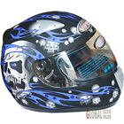 Viper Skull Full Face Scooter Motorcycle Motorbike Helmet ACU Gold Approval Blue