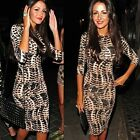 New Spring Women Long Sleeve Leopard Bandage Bodycon Party Cocktail Pencil Dress