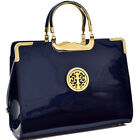 Women Patent Leather Gold Tone Tree Emblem Briefcase Laptop Bag Business Bag New