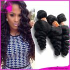 Unprocessed 3 Bundles Weave 6A Brazilian Human Hair Extensions Loose Wave Wefts