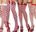 Ladies Red & White Striped Christmas Santa Fancy Dress Costume Stockings Socks