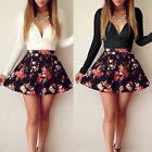 New Fashion Women Girl Sexy Low V Neck Floral Pleated Stretch A-line Mini Dress